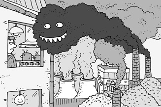 Greenhouse gas emissions emerging from industrial chimneys (Jan Smolik)